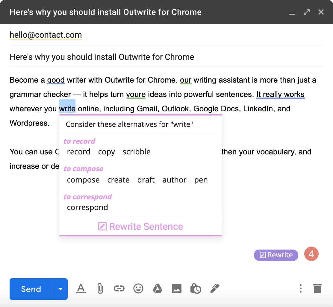 "Outwrite's browser extension being used in Gmail. The word ""write"" is highlighted, with a list of synonyms shown."