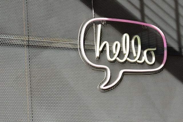 A neon hello sign