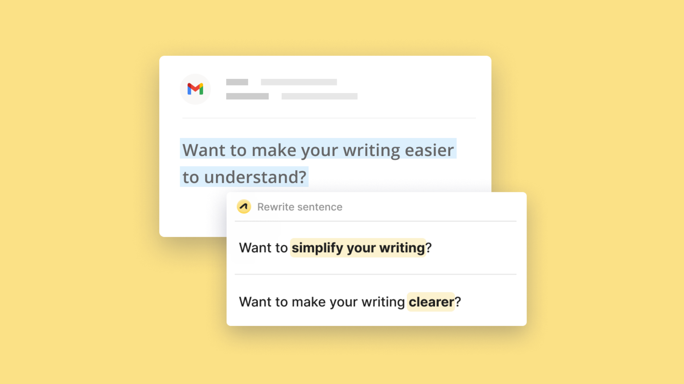 "The sentence ""Want to make your writing easier to understand"" is highlighted. A pop up message suggests ways to simplify the sentence."