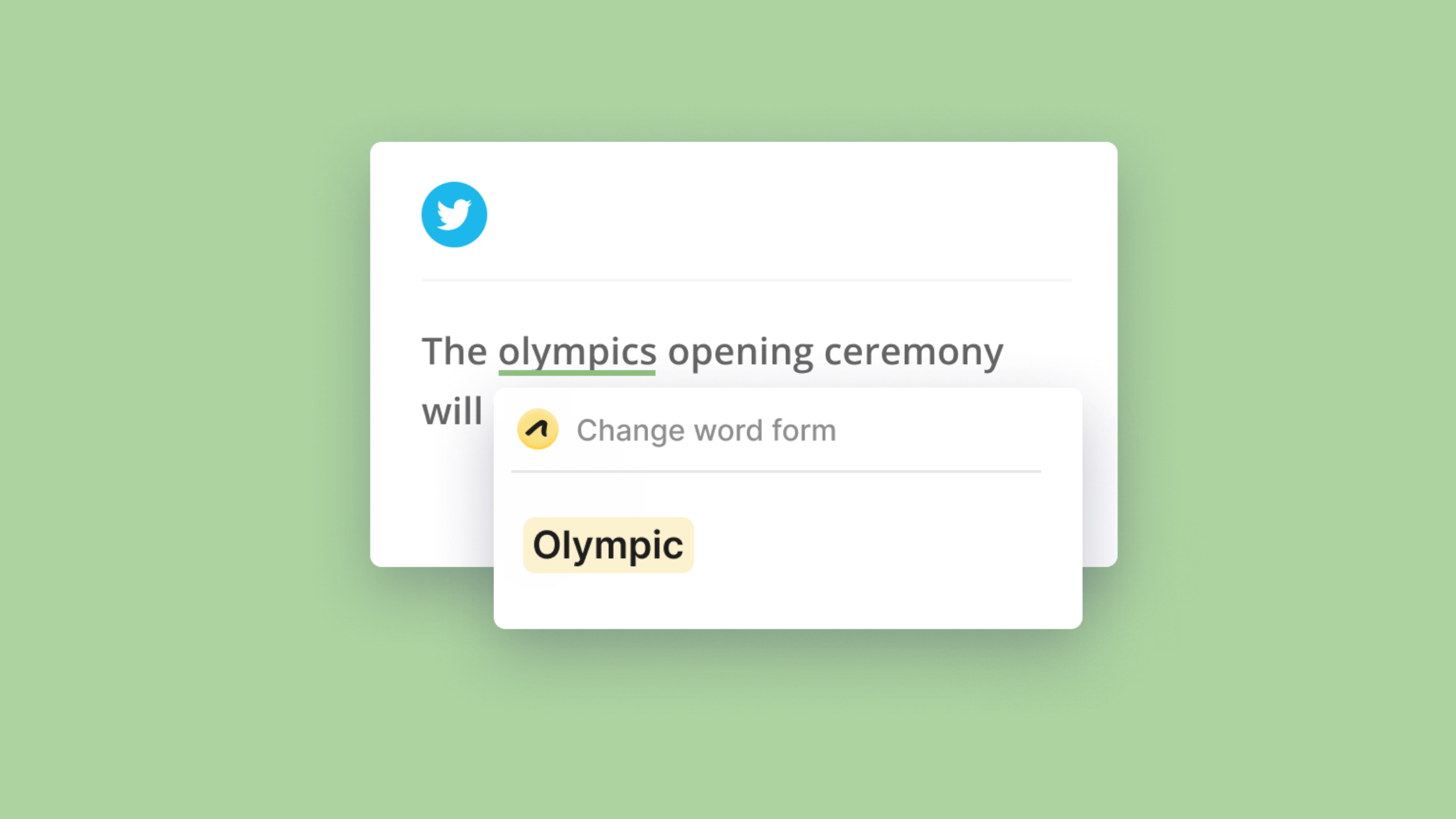 """A tweet says """"The olympics opening ceremony"""". Outwrite suggests using """"Olympic"""" instead."""